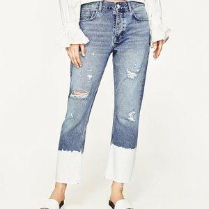 ZARA Distressed Bleached Hem Jeans